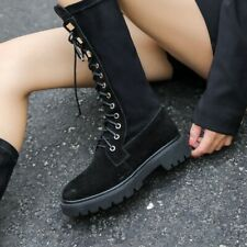 Womens Ladies Fashion Leather Lace Up Mid Calf Combat Riding Boots Shoes BTRE
