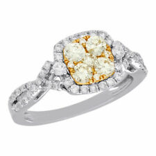 Set Bypass Engagement Ring 1 Ct. 14K White Gold Natural Yellow Diamond Flower