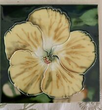 "Vintage 6"" Majolica Floral Flower Hibiscus Decorative Tile"