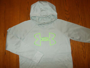 UNDER ARMOUR COLD GEAR GRAY FUNNEL NECK HOODED SWEATSHIRT WOMENS MEDIUM EXCELL.