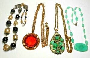 Lot of 4 Beautiful Czechoslovakian Gilded Brass-Glass Necklaces circa 1930