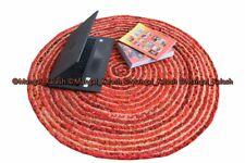 Indian jute & cotton rug chindi area round handmade braided reversible rug round
