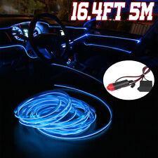 Blue 5M LED Car Interior Decor Atmosphere Wire Strip Light Lamp Car Accessories
