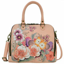 "Women's Anuschka Leather Bag Hand Painted ""Vintage Garden"" Tote Satchel Handbag"