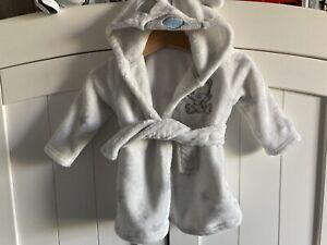 Unisex Baby Tiny Tatty Teddy Fluffy Soft Fleece Hooded Dressing Gown Robe 3-6M