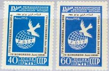 RUSSIA SOWJETUNION 1958 2080-81 2064-65 4th Cong. Women´s Federation Dove MLH