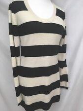 Jamison From Intermix Size L Striped Cream/ Black Cashmere Blend Sweater