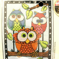"Dimensions Jennifer Nisson Counted Cross Stitch Kit ""Owls Trio"" 5"" x 7"" NIP"