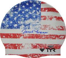 Janet Evans signed Olympic Team USA Swimming American Flag TYR Swim Cap