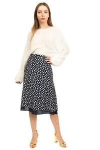 RRP €110 ELENA MIRO' A-Line Skirt Plus Size 37 / S Silk Blend Two Tone Polka Dot