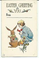 Child Talking to Easter Bunny with Chick Posted 1917 Vintage Postcard