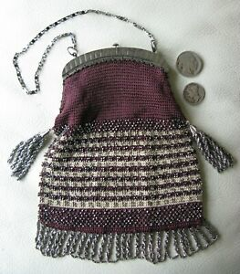 Antique Burgundy Crochet Silver French Steel Micro Bead Fringe Purse 1800s