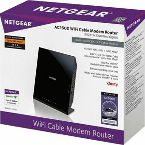 NETGEAR - Dual-Band AC1600 Router with 16 x 4 DOCSIS 3.0 Cable Modem - Black