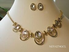 JBL GOLD TONE WHITE OVAL WHITE CRYSTALS NECKLACE AND EARRINGS SET