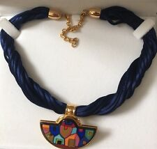 Frey Wille Silk Pendant Necklace Gold Tone. Hundertwasser. Designer Jewellery.