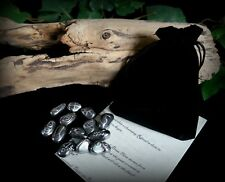 13 Witches Hematite Crystal Runes & Bag Witch Wicca Pagan Divination Yule Gift