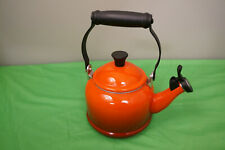 Le Creuset orange flame enamel tea kettle 1.25 Qt