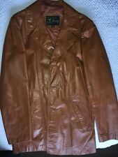 Vintage Mens Leather Jacket Sz 42L 1970's Very Good Condition