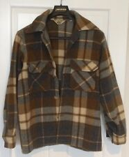 Vintage Woolrich Gold Olive Green and Blue Plaid Wool Shirt Jacket Size 40 Heavy