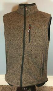 Orvis Trout Fly Fishing Sweater Fleece Outdoor Full Zip Vest Brown Men's Size L
