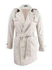 Tommy Hilfiger Women's Pinstriped Trench Coat (12, Sand/Midnight)