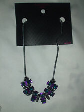 NEW Material Girl Rectangle Rhinestone Necklace Purple & Blue $22