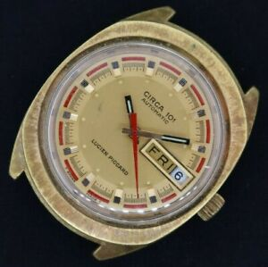Vintage Circa 101 Lucien Piccard 17J Automatic Men's Watch FHF 908 Retro Running