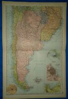 Vintage 1892 CHILE - ARGENTINE REPUBLIC (ARGENTINA)  MAP Old Antique Original
