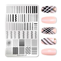 NICOLE DIARY Stamping Plates Rectangle Geometric Nail Image Stamp Stencil L04