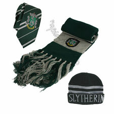 3pcs Harry Potter Slytherin Scarf + Cap Hat + Necktie Soft Warm Costume Gift USA