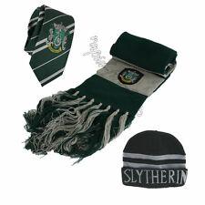 3pcs Harry Potter Slytherin Scarf + Cap Hat + Necktie Soft Warm Costume Gift USA