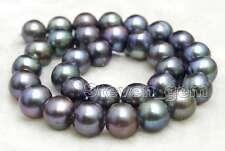 "SALE Big 12-13mm Black Natural Freshwater round  Pearl Loose Bead 14""-los178"