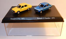COFFRET ATLAS HO 1/87 DUO 2 METAL UH RENAULT 12 TL 1971 JAUNE R12 GORDINI BLEUE