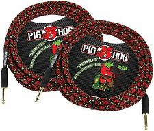 2-PACK PIG HOG TARTAN PLAID 20 FOOT GUITAR INSTRUMENT BASS PATCH CABLE 1/4 CORD