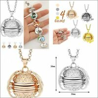 Expanding 4 Photo Locket Necklace Silver Ball Angel Wing Pendant Gifts Memorial