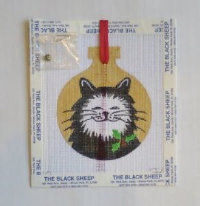 HANDPAINTED NEEDLEPOINT Holly Cat Ornament by Jody (6)