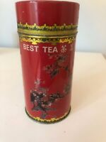 BEST TEA Vintage Red Tin Canister Best Taiwan Tea Empty Floral Tree Birds Ad