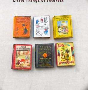 6 ALICE IN WONDERLAND Dollhouse Miniature Books 1:12 Scale PROP Faux Bookshelf