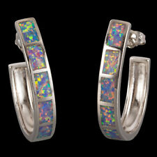 Large Semicircle Lavender Purple Fire Opal Inlay Silver Jewelry Hoop Earrings