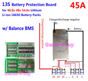 48V 45A 13S 18650 Li-ion Lithium polymer BMS PCB Protection for ebike ebicycle