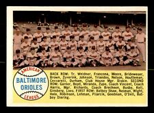 BALTIMORE ORIOLES TEAM  58 TOPPS 1958 NO 408 VGEX+ 21599