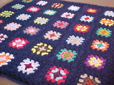 "NEW HAND CROCHET GRANNY SQUARE AFGHAN BLANKET 34""x 34"" DARK BLUE w/ ASST. COLORS"