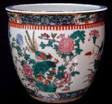 Ancien grand cache pot porcelaine famille rose phoenix porcelaine chinese vase