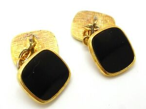 Black Rectangular and Gold Plated Chain Cufflinks Flat Shiny Vintage Rounded