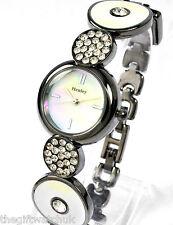 Henley Ladies Quartz Crystal Dress Watch, White & Gunmetal Art Deco Design