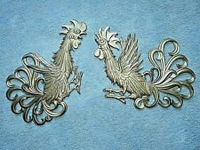 Vintage Mid Century Gold Metal Sexton Wall Art Fighting Cocks Rooseters Chickens