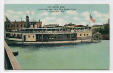 Paddle Steamer Excursion Boat Main Street Dock Oshkosh Wisconsin 1908 postcard
