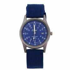 Men`s - Boy`s Sports Quartz Duel Time Date Window Blue Canvas Band Wrist Watch.