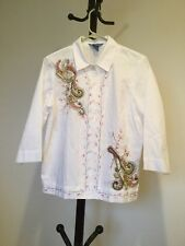New Women's KORET Butoon 3/4Sleeve White Embodied 100%cotton Shirt/top Size PM