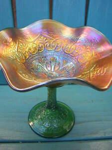 glass NORTHWOOD MARIGOLD CARNIVAL GLASS PERSIAN COMPOTE green stem FENTON hearts